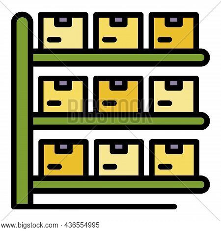 Logistic Parcel Icon. Outline Logistic Parcel Vector Icon Color Flat Isolated