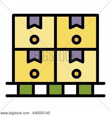 Logistic Parcel On Pallet Icon. Outline Logistic Parcel On Pallet Vector Icon Color Flat Isolated