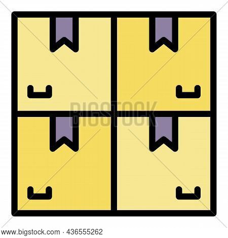 Carton Boxes Stack Icon. Outline Carton Boxes Stack Vector Icon Color Flat Isolated