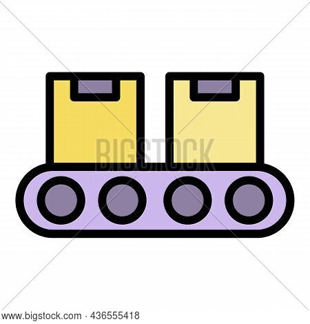 Warehouse Parcel Line Icon. Outline Warehouse Parcel Line Vector Icon Color Flat Isolated