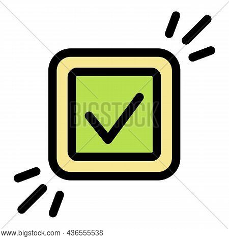 Approved Sign Icon. Outline Approved Sign Vector Icon Color Flat Isolated