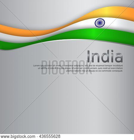 Abstract Waving Flag Of India. Paper Cut Style. Creative Metal Background For Patriotic Holiday Card