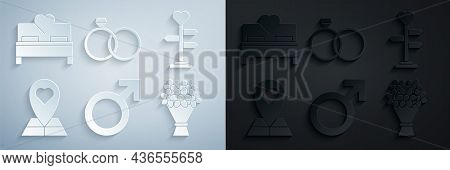 Set Male Gender Symbol, Signpost With Heart, Map Pointer, Bouquet Of Flowers, Wedding Rings And Bedr