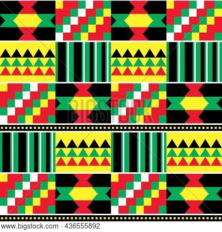 Kente Vector Seamless Textile Pattern From Ghana, African Traditional Geometric Nwentoma Design In R