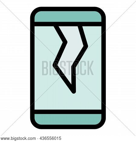 Cracked Phone Display Icon. Outline Cracked Phone Display Vector Icon Color Flat Isolated