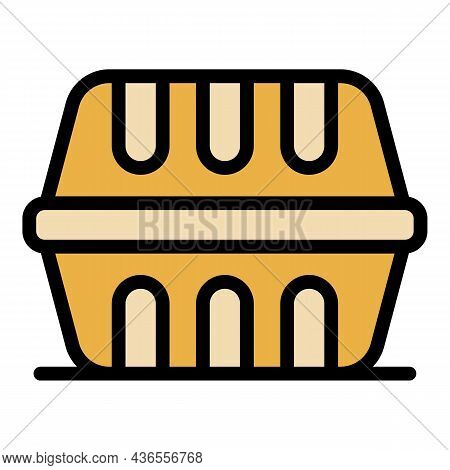 Plastic Lunch Box Icon. Outline Plastic Lunch Box Vector Icon Color Flat Isolated