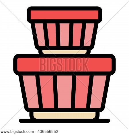 Plastic Container Icon. Outline Plastic Container Vector Icon Color Flat Isolated