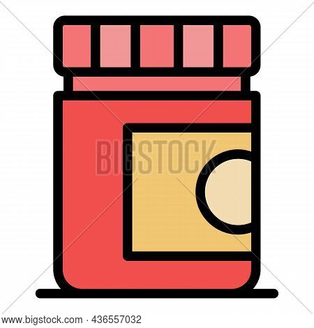 Plastic Medical Jar Icon. Outline Plastic Medical Jar Vector Icon Color Flat Isolated