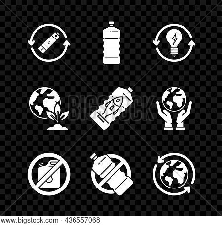 Set Battery With Recycle Symbol Line, Recycle And Light Bulb Lightning, No Canister For Gasoline, Pl