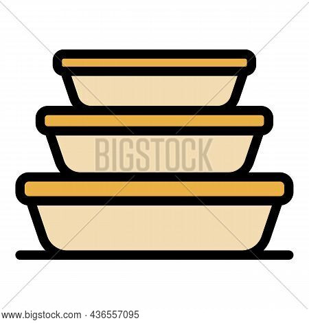 Stack Food Container Icon. Outline Stack Food Container Vector Icon Color Flat Isolated