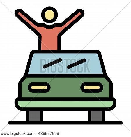 Celebrity On Cabriolet Icon. Outline Celebrity On Cabriolet Vector Icon Color Flat Isolated