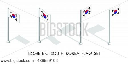 Isometric Flag Of South Korea In Static Position And In Motion On Flagpole. 3d Vector