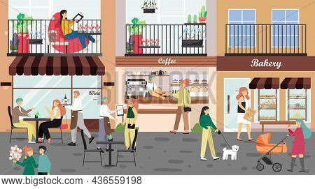 People Visiting Coffeehouse, Cafe, Bakery, Walking Down City Street, Vector Illustration. Small Shop