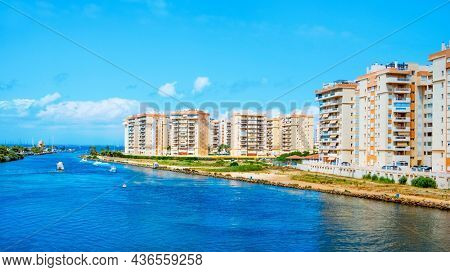 a view of the inner side of la Gola del Puerto canal, in La Manga del Mar Menor, Murcia, Spain, that connects the lagoon and the Mediterranean sea
