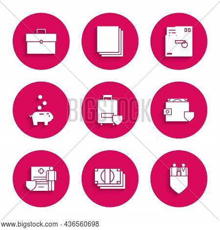 Set Traveling Baggage Insurance, Stacks Paper Money Cash, Family With Shield, Wallet And, Medical Cl