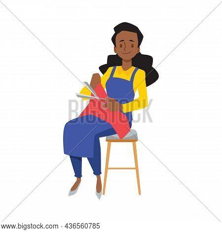 Indian Woman Sitting Cutting Fabric With Scissors. Dark Skinned Female Sewing Fabric, Seamstress Car