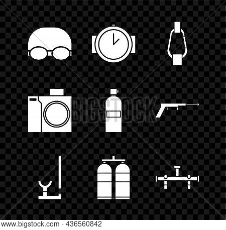 Set Glasses And Cap For Swimming, Diving Watch, Carabiner, Snorkel, Aqualung, Manifold, Photo Camera