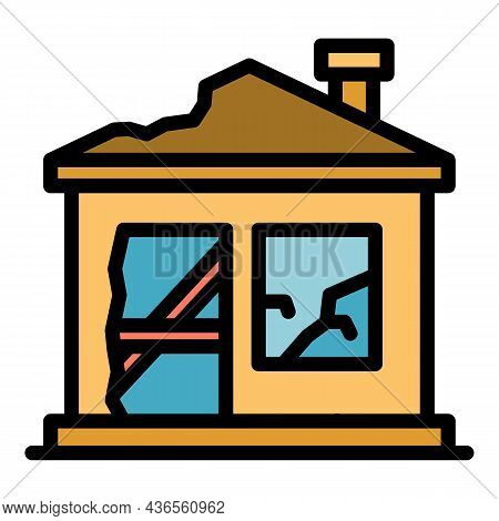 Destroyed Home Icon. Outline Destroyed Home Vector Icon Color Flat Isolated