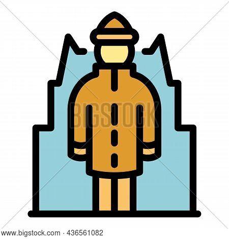 Homeless Senior Man Icon. Outline Homeless Senior Man Vector Icon Color Flat Isolated