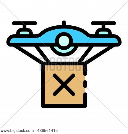 Parcel Drone Delivery Icon. Outline Parcel Drone Delivery Vector Icon Color Flat Isolated