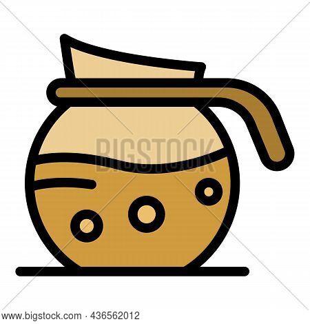 Coffee Jug Icon. Outline Coffee Jug Vector Icon Color Flat Isolated