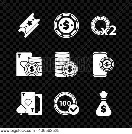 Set Lottery Ticket, Casino Chip With Dollar, Chips, Playing Card Heart, Money Bag, And Playing Cards