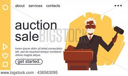 Auction Sale Web Banner Or Presentation Page Interface, Vector Illustration.