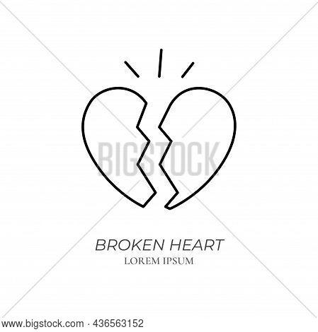 Broken Heart Line Icon Concept. Two Halves Of Heart Shape Outline Stroke Element. Psychologist Couns