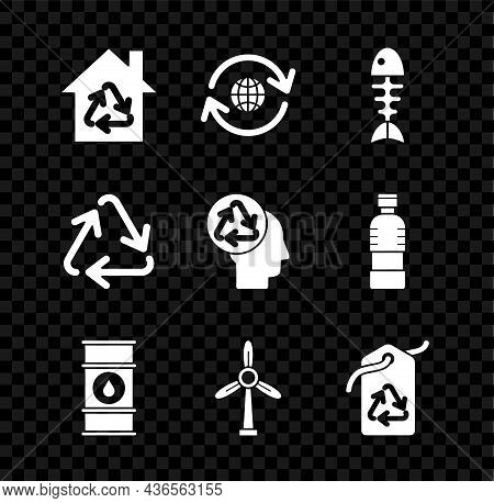 Set Eco House With Recycling Symbol, Planet Earth And A, Fish Skeleton, Oil Barrel Line, Wind Turbin