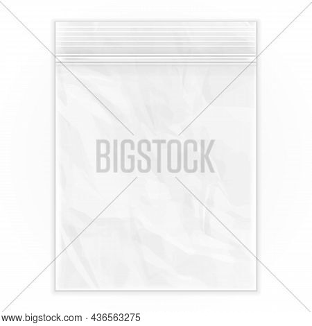 Mockup Blank Flat Poly Clear Bag Empty Plastic Polyethylene Pouch Packaging With Zipper, Ziplock. Il