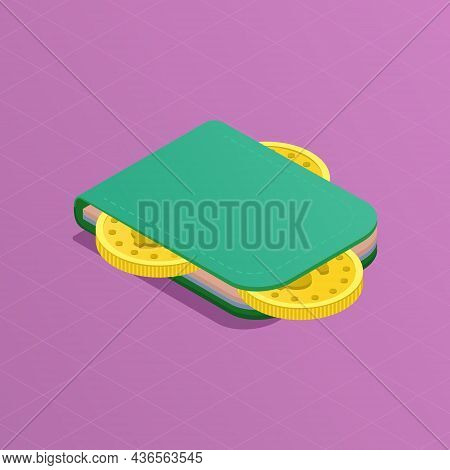 Online Wallet Isometric Concept. Coins And Payment Cards In The Green Purse. Money. Online Payment A