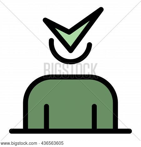 Man Approved At New Work Icon. Outline Man Approved At New Work Vector Icon Color Flat Isolated