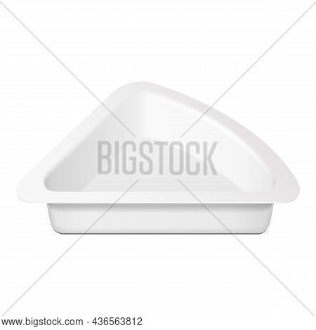 Mockup Triangle Empty Blank Cheese, Curd Plastic Food Tray Container Box Opened, Cover. Illustration