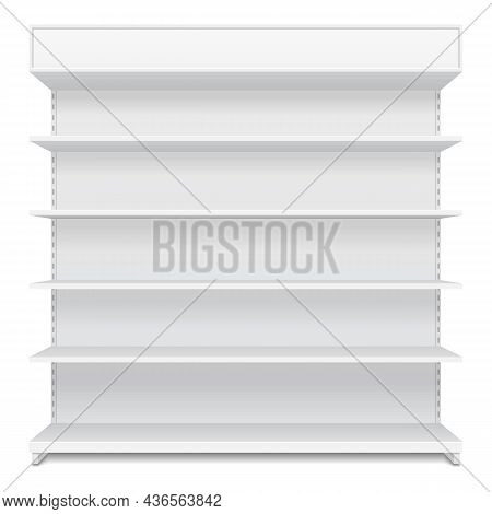 Mockup Blank Empty Showcase Display With Retail Shelves. Front View 3d. Illustration Isolated On Whi
