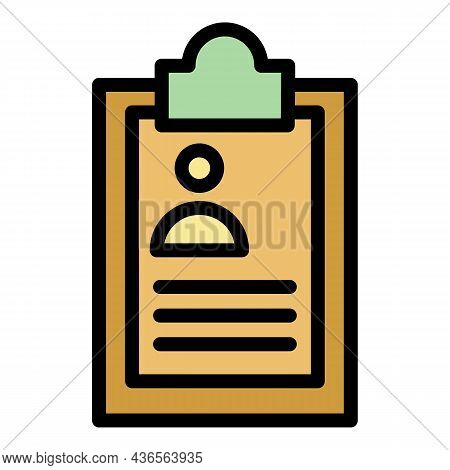 Clipboard Id Card Icon. Outline Clipboard Id Card Vector Icon Color Flat Isolated
