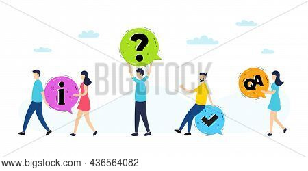 Information, Question And Answer Illustration. Online Faq Communication, Getting Help Information, A