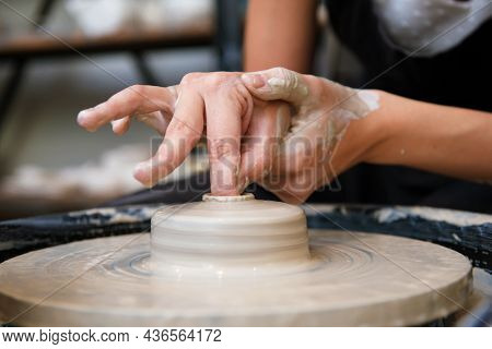 Woman White Hands Doing Pottery Close Up Side View No Face Horizontal Close Up Pottery Wheel