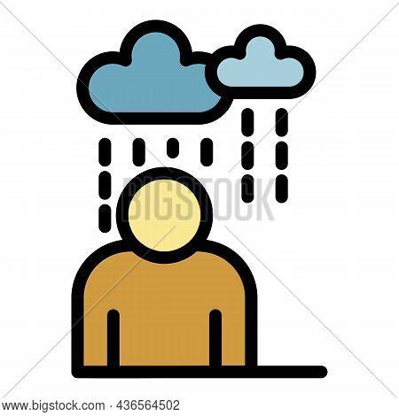Rainy Depression Man Icon. Outline Rainy Depression Man Vector Icon Color Flat Isolated