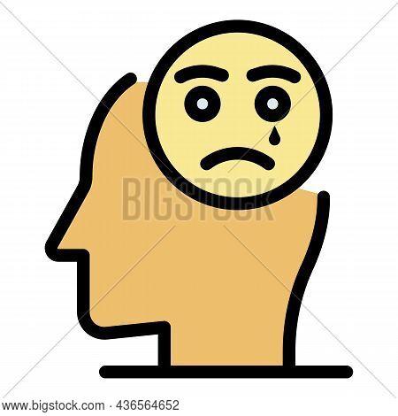 Sad Emoji Depression Icon. Outline Sad Emoji Depression Vector Icon Color Flat Isolated