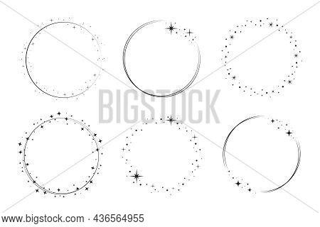 Star Circle Frame Set. Wreath Round Stardust Border For Party, Birthday Decor Design. Laurel Frame W