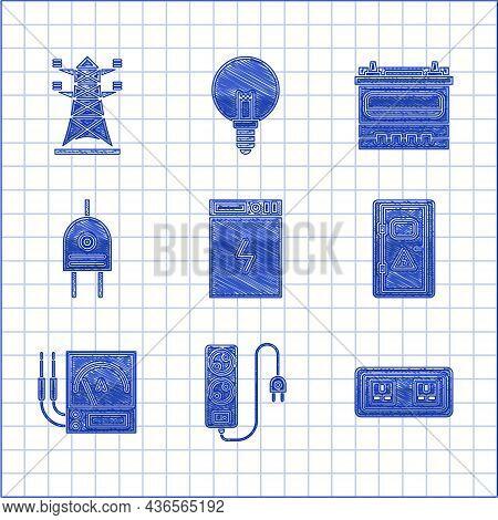 Set Power Bank, Electric Extension Cord, Electrical Outlet, Cabinet, Ampere Meter, Multimeter, Voltm