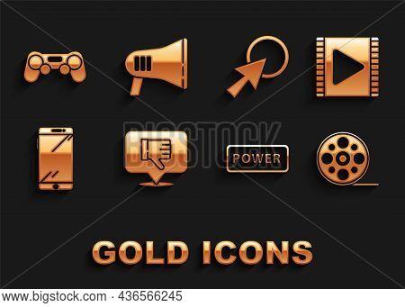 Set Dislike In Speech Bubble, Play Video, Film Reel, Power Button, Smartphone, Mobile Phone, Arrow C