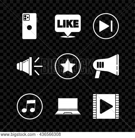 Set Smartphone, Mobile Phone, Like In Speech Bubble, Fast Forward, Music Note, Tone, Laptop, Play Vi