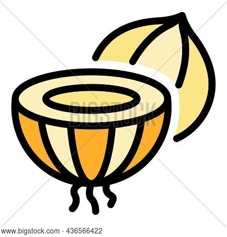 Cutted Onion Icon. Outline Cutted Onion Vector Icon Color Flat Isolated