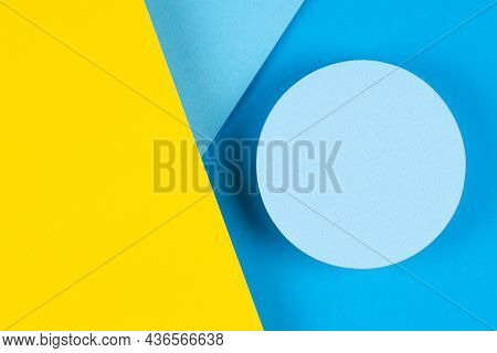Abstract Geometric Light Blue And Yellow Color Background. Round Shape Platform Podium For Product D