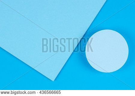 Abstract Light Blue Color Background. Top View To Geometric Round Shape Podium For Product Display A