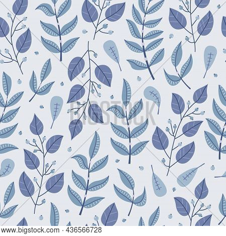Winter Seamless Pattern With Blue Plants And Flowers.