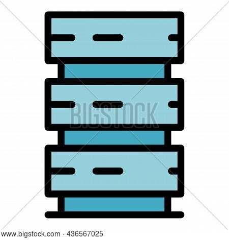 Server Tower Icon. Outline Server Tower Vector Icon Color Flat Isolated