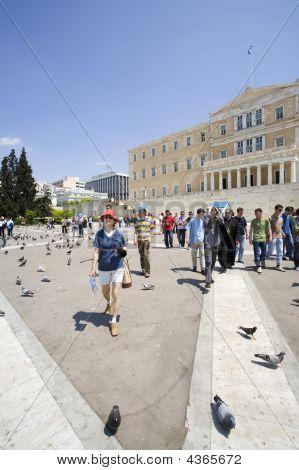 Athens Parliament Young Woman Walking