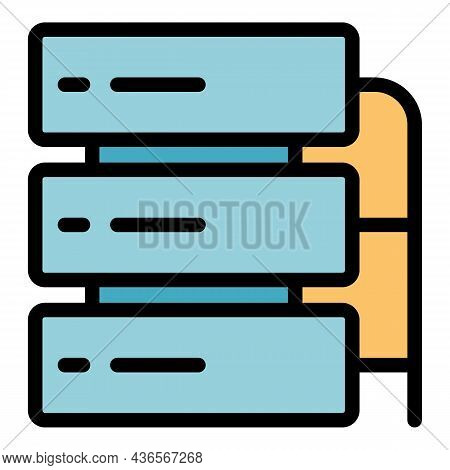 Server Cluster Icon. Outline Server Cluster Vector Icon Color Flat Isolated